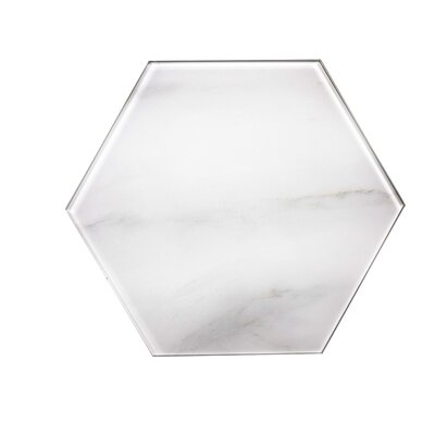 Nature 8 x 8 Glass Hexagon Tile in Calacatta White/Gray Veins