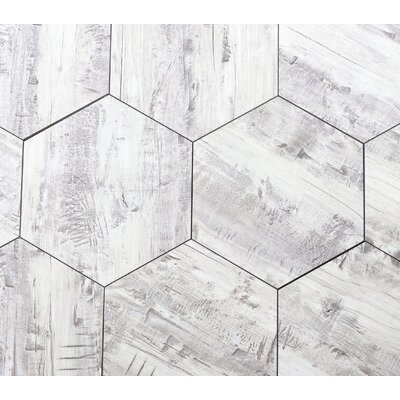 Nature 8 x 8 Glass Hexagon Tile in Birchwood Gray/Creme