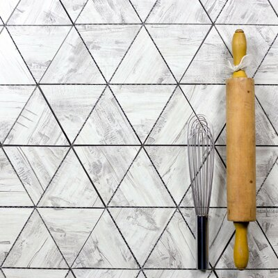 Nature 16.25 x 12 Glass Triangle Tile in Birchwood Gray/Gray