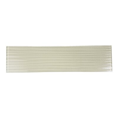 Monroe 4 x 16 Glass Wood Look/Field Tile in White