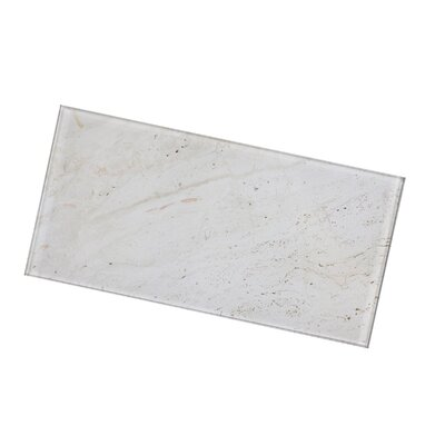 Nature Straight Edge 4 x 8 Glass Subway Backsplash Tile in Beige/Creme