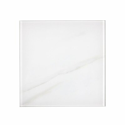 Nature 8 x 8 Glass Subway Tile in Calacatta White/Gray Veins