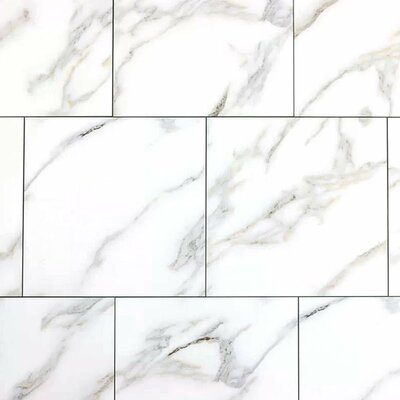 Nature 8 x 8 Glass Subway Tile in White/Gray Veins
