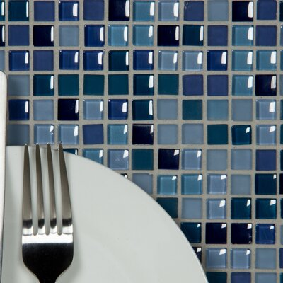 Petite 0.38 x 0.38 Glass Mosaic Tile in Royal Blue