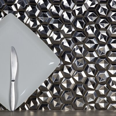Enchanted 3D Hex 2 x 2 Aluminum Mosaic Tile in Silver