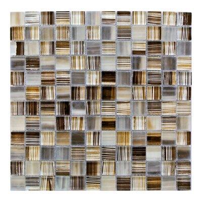 Handicraft 1 x 1 Glass Mosaic Tile in Beige Orange