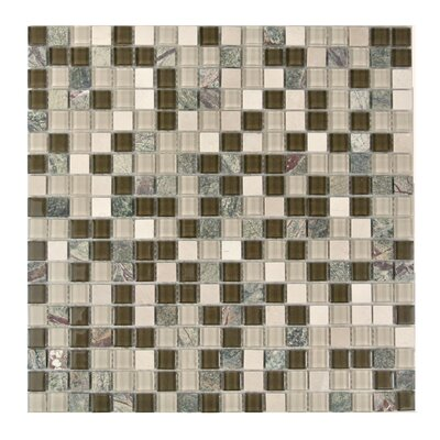Crystal Stone 0.63 x 0.63 Glass Mosaic Tile in Glazed Forest Walk