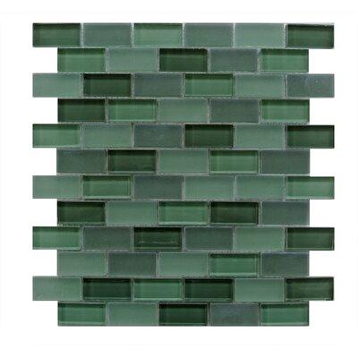 Free Flow 1 x 2 Glass Mosaic Tile in Dark Green