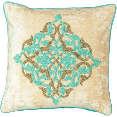 Aqua Beaded Medallion Velvet Throw Pillow