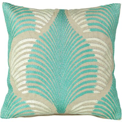 Aqua Tropical Palm Leaf Embroidery Cotton Throw Pillow