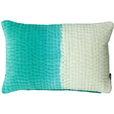 Aqua Ombre Velvet with Kantha Stitch Lumbar Pillow