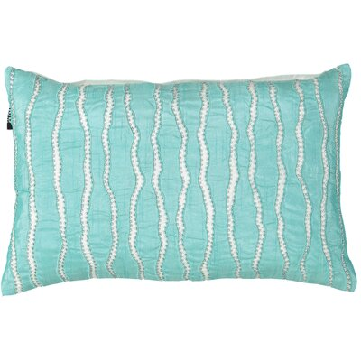 Wave Embroidery with Beads Lumbar Pillow