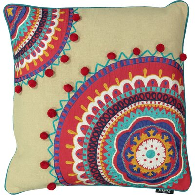 Queens Bohemian Embroidery 100% Cotton Throw Pillow