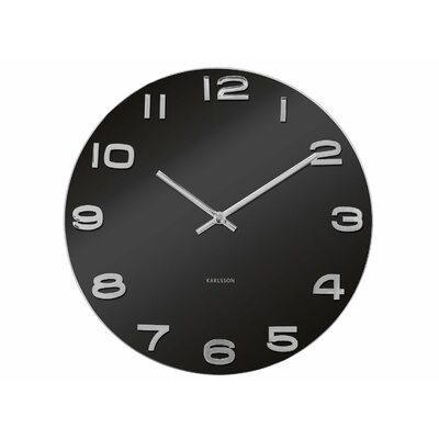"Vintage 14"" Black Glass Wall Clock KA4401"