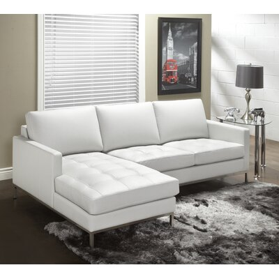 244 Series Leather Sectional Upholstery: Polar White, Orientation: Left Hand Facing