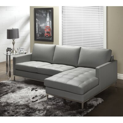 244 Series Leather Sectional Upholstery: Grey, Orientation: Right Hand Facing
