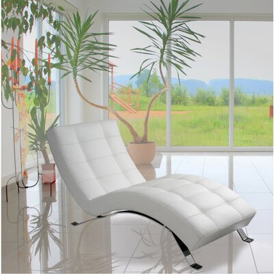 Avalon Top Grain Leather Chaise Lounge Upholstery: Polar White