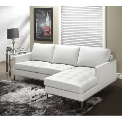 244 Series Leather Sectional Upholstery: Polar White, Orientation: Right Hand Facing