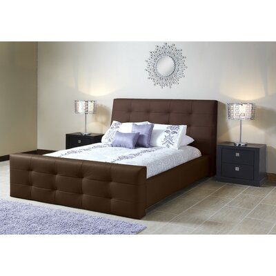 Upholstered Platform Bed Size: Queen, Color: Brown