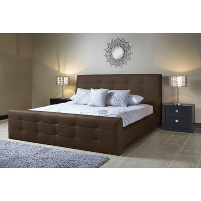 Upholstered Platform Bed Upholstery: Brown, Size: King