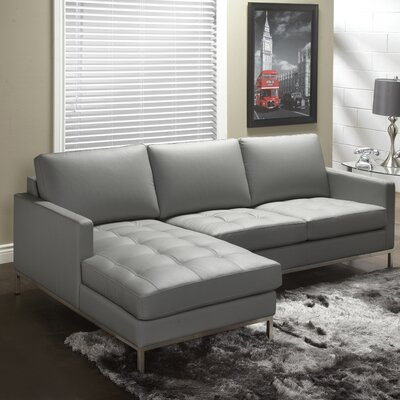 244 Series Leather Sectional Upholstery: Grey, Orientation: Left Hand Facing