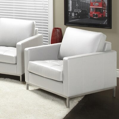 Regency Top Grain Leather Armchair Upholstery: Polar White