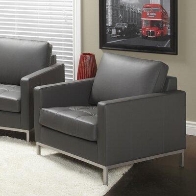 Regency Top Grain Leather Armchair Fabric: Grey