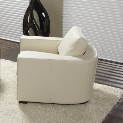 Marquis Top Grain Leather Armchair Upholstery: Linen