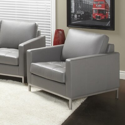 Regency Top Grain Leather Armchair Upholstery: Slate