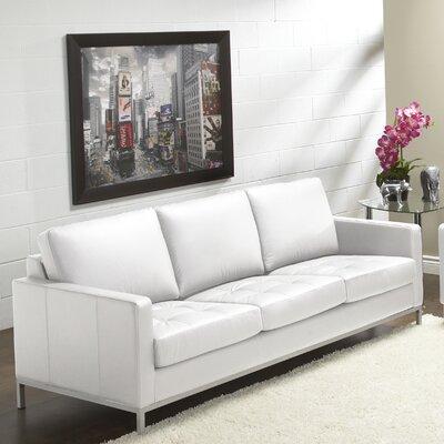 244 Series Regency Leather Sofa Upholstery: Polar White