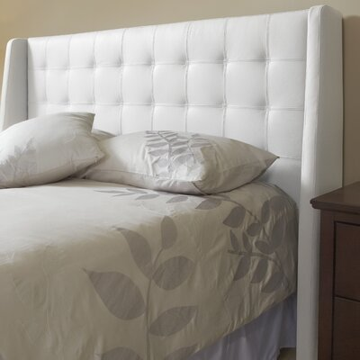Sierra Top Grain Wingback Headboard Size: Double, Upholstery: Polar White