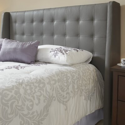 Sierra Top Grain Wingback Headboard Upholstery: Grey, Size: Queen