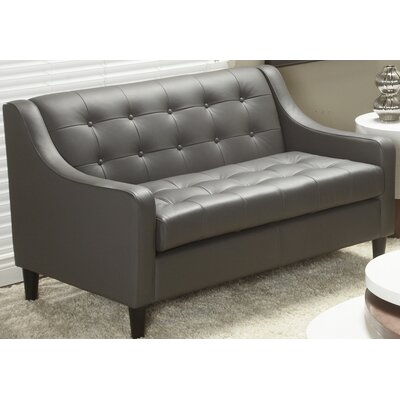 Cameo Top Grain Leather Love Seat Color: Gray