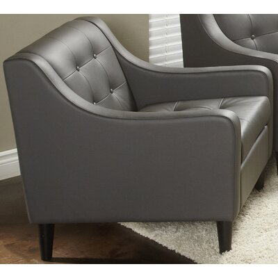 Cameo Collection Leather Arm Chair Upholstery: Gray