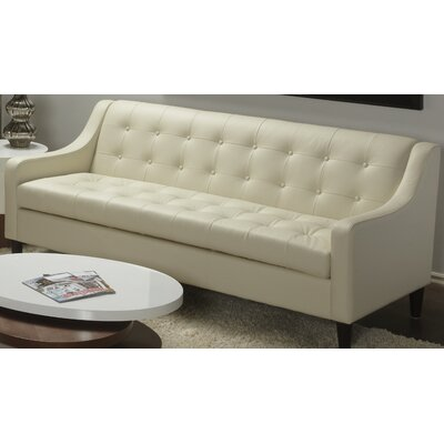 Cameo Leather Sofa Color: Linen