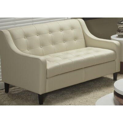 Cameo Top Grain Leather Love Seat Color: Linen