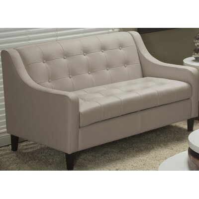 Cameo Top Grain Leather Love Seat Color: Mushroom
