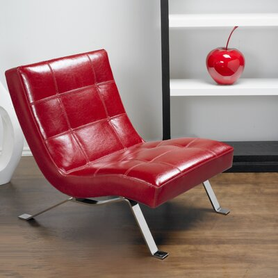 Avalon Top Grain Leather Lounge Chair Color: Red