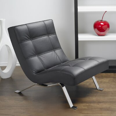 Avalon Top Grain Leather Lounge Chair Color: Black