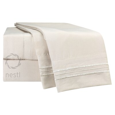 1800 Thread Count Flamingo Bed Sheet Set US-nstl-BS-TXL-cream