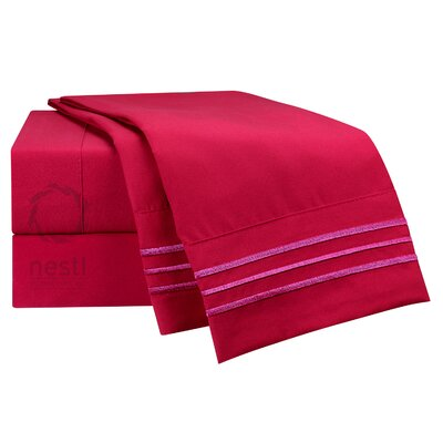 1800 Thread Count Spoonbill Bed Sheet Set Size: King