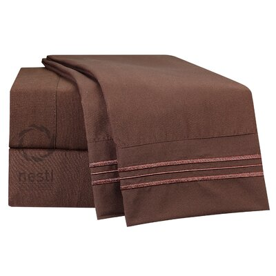 1800 Thread Count Nighthawk Bed Sheet Set Size: Full