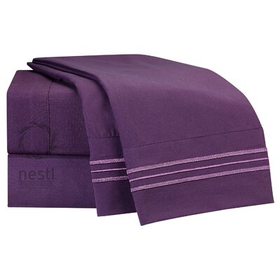 1800 Thread Count Bed Sheet Set Color: Eggplant