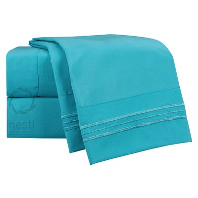 1800 Thread Count Bluebird Bed Sheet Set Size: Queen