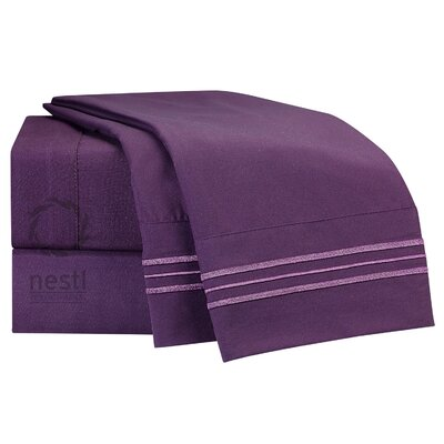 1800 Thread Count Martin Eggplant Bed Sheet Set Size: Queen