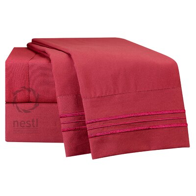 1800 Thread Count Bed Sheet Set Color: Burgundy