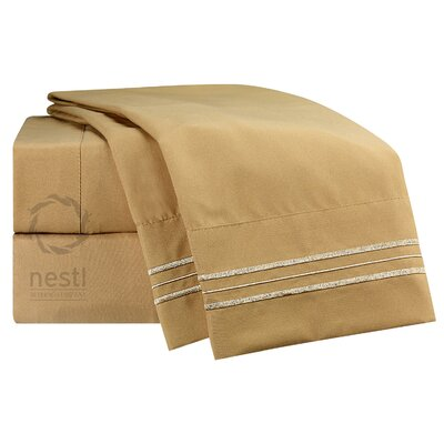 1800 Thread Count Sandpiper Bed Sheet Set Size: Full