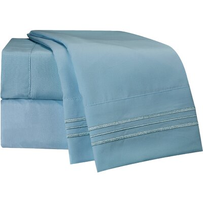 1800 Thread Count Robins Egg Bed Sheet Set Size: Full
