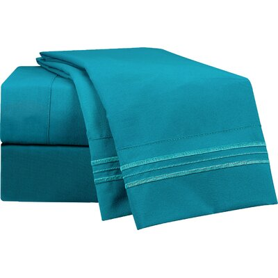 1800 Thread Count Peacock Bed Sheet Set Size: Queen