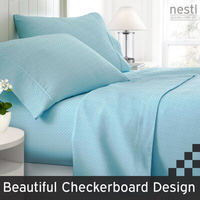 Wyatt Embossed Checkerboard Microfiber Sheet Set Color: Light Blue, Size: Queen